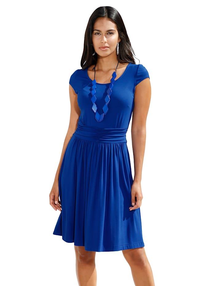 AMY VERMONT Jersey jurk met plooitjes, Royal blue