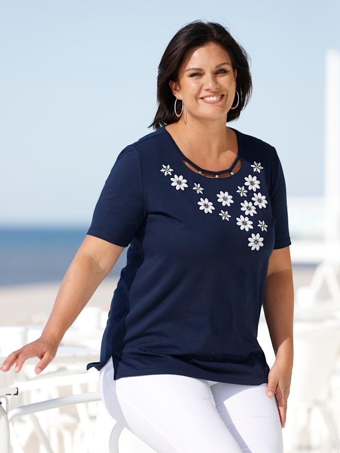 m. collection Shirt mit 3D floralen Blumenmotiven, Marineblau/Weiß