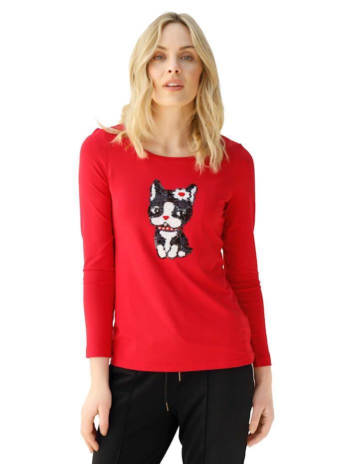 AMY VERMONT Shirt met kattenmotief van pailletten, Rood