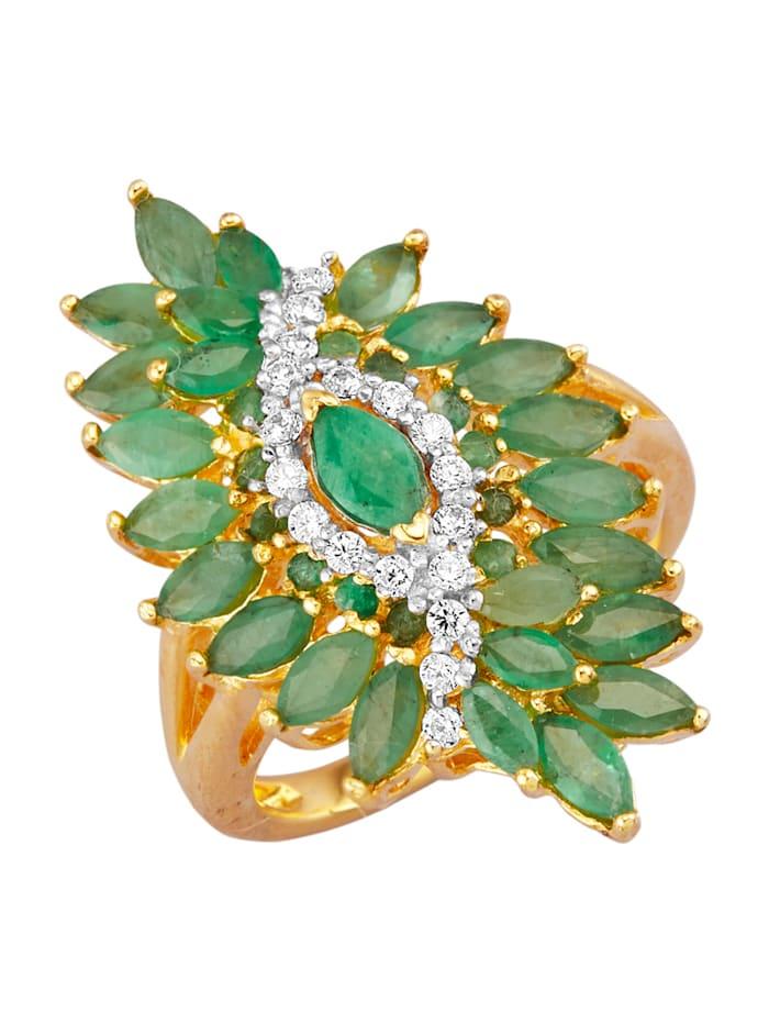 Ring av guldfärgat silver 925, Grön