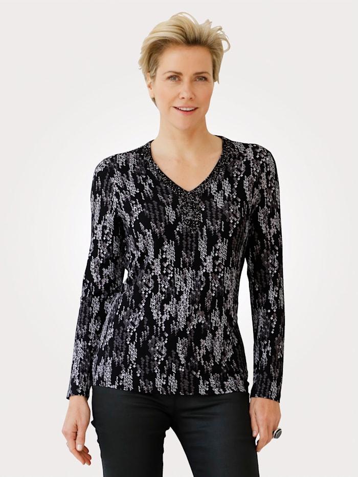 MONA T-shirt avec strass et perles fantaisie, Noir/Blanc