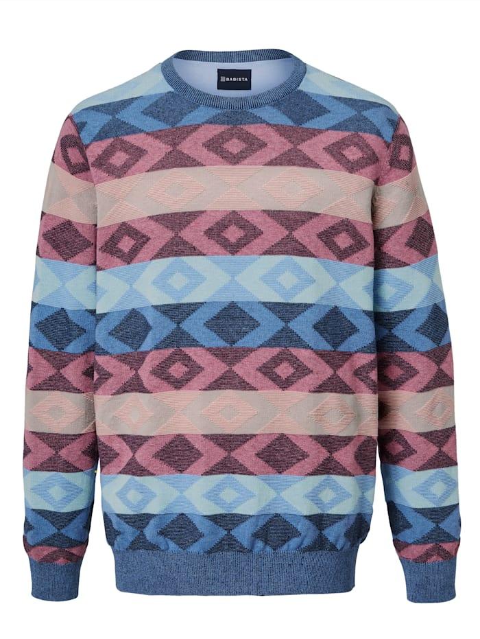 BABISTA Trui met modieus patroon, Lichtblauw/Roze