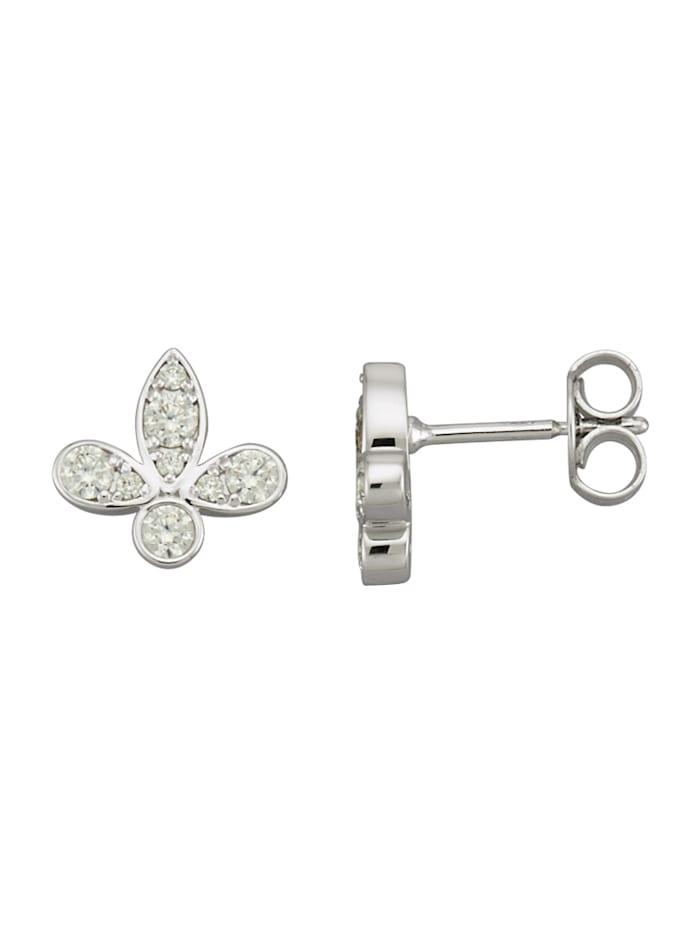 Lilja-aiheiset timanttikorvakorut valkokultaa