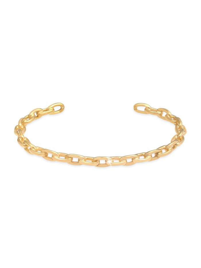 Elli Premium Armband Armreif Bangle Ketten-Look Kombinierbar 925 Silber, Gold