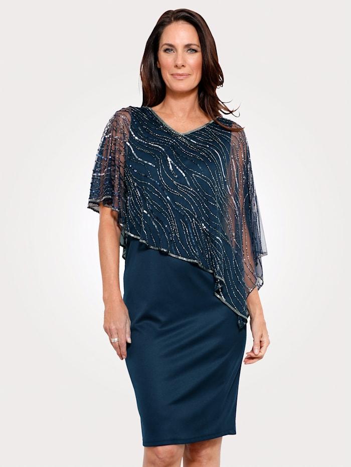 MONA Kleid mit bestickten Überwurf, Marineblau