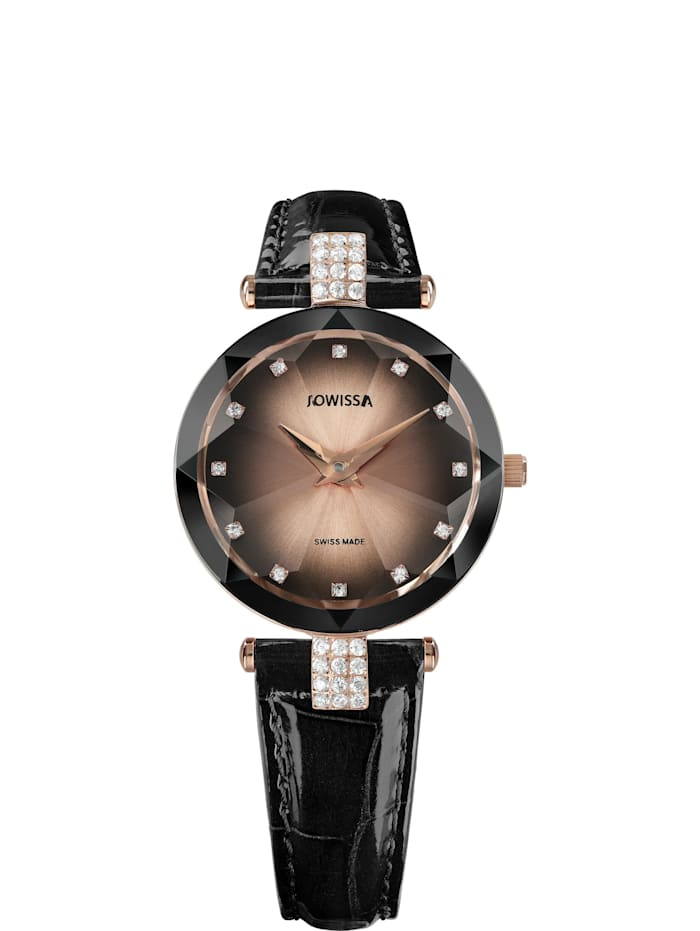 Jowissa Quarzuhr Facet Strass Swiss Ladies Watch, schwarz