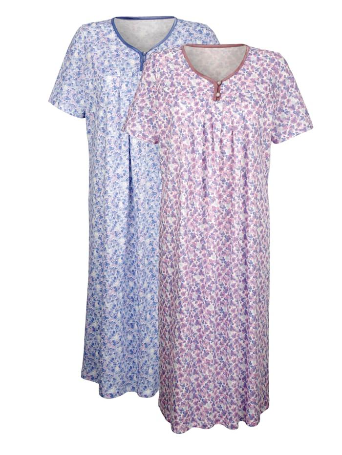 Harmony Nachthemden met bloemenprint, Oudroze/Rookblauw