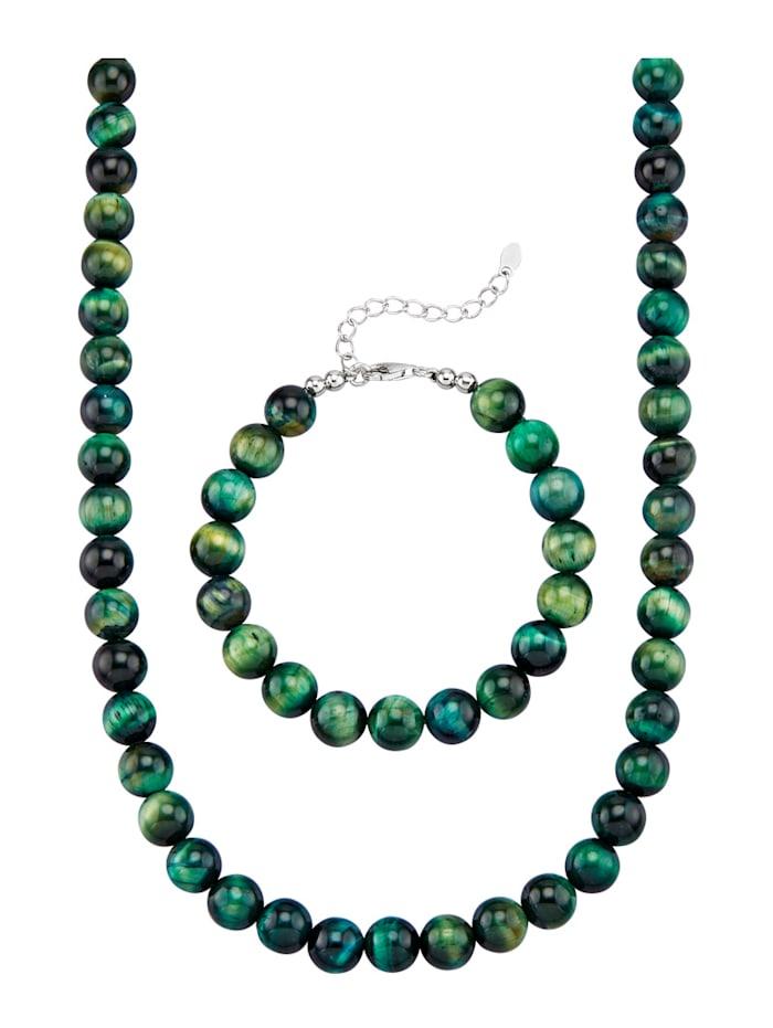 Diemer Farbstein 2tlg. Schmuck-Set aus grünen Tigerauge-Kugeln, Grün
