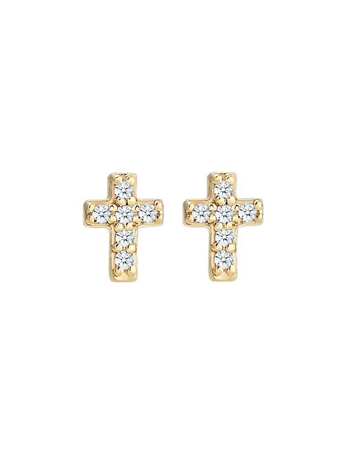 Ohrringe Kreuz Religion Diamant (0.06 Ct) 585Er Gelbgold