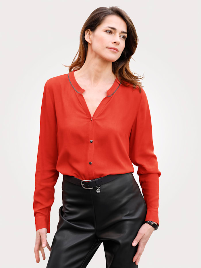MONA Blouse made from a soft, flowing fabric, Orange