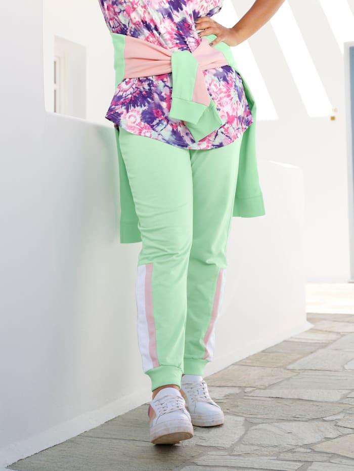 Janet & Joyce Jogpants mit Colourblocking Streifen seitlich, Mintgrün/Hellrosa/Weiß