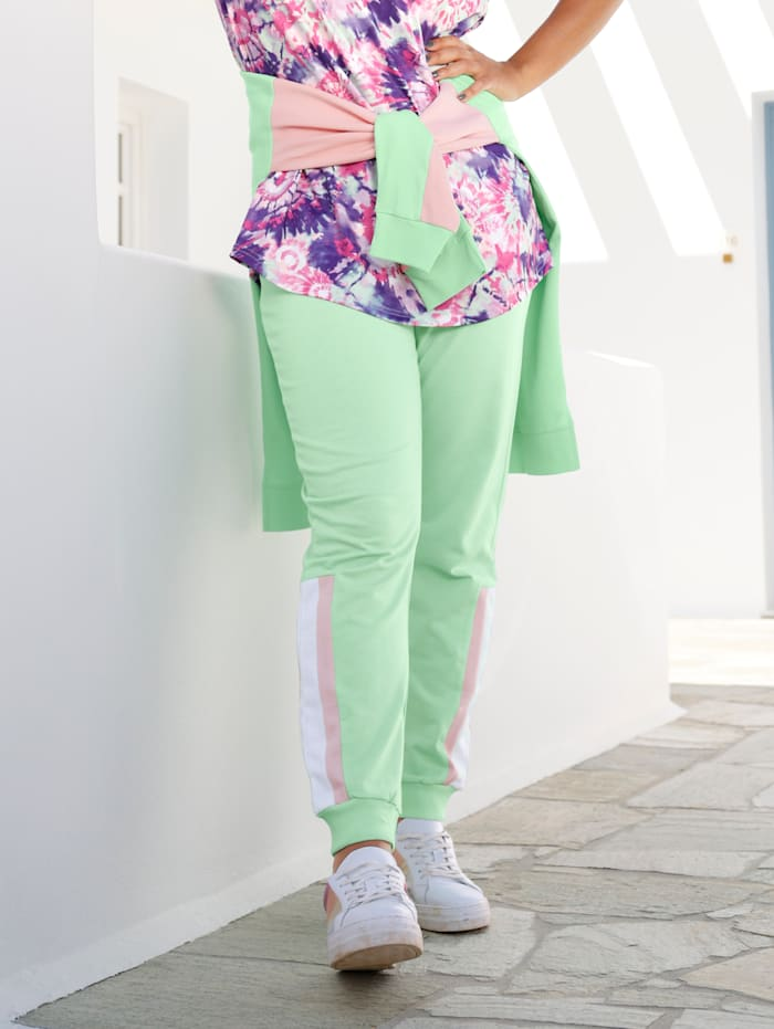 Janet & Joyce Jogpants met colourblockingstrepen opzij, Mint/Lichtroze/Wit