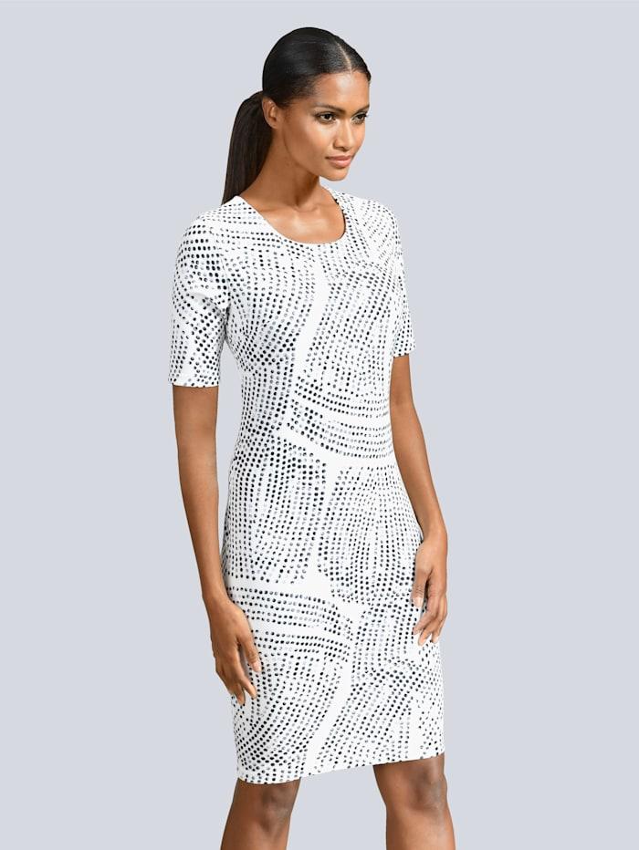 Alba Moda Kleid aus elastischer Jerseyware, Grau/Weiß