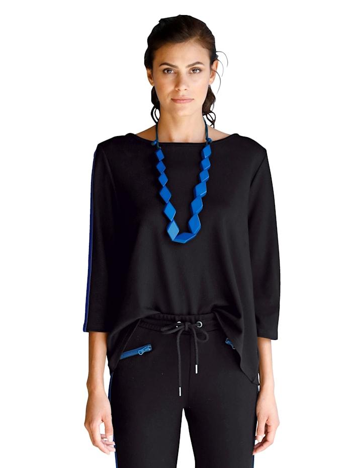 AMY VERMONT Sweatshirt met stolpplooi, Zwart/Royal blue