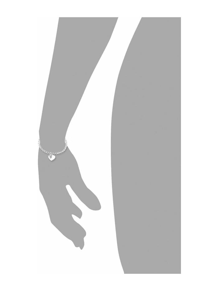 Armband mit Anhänger für Damen, Edelstahl, Kristallglas Herz