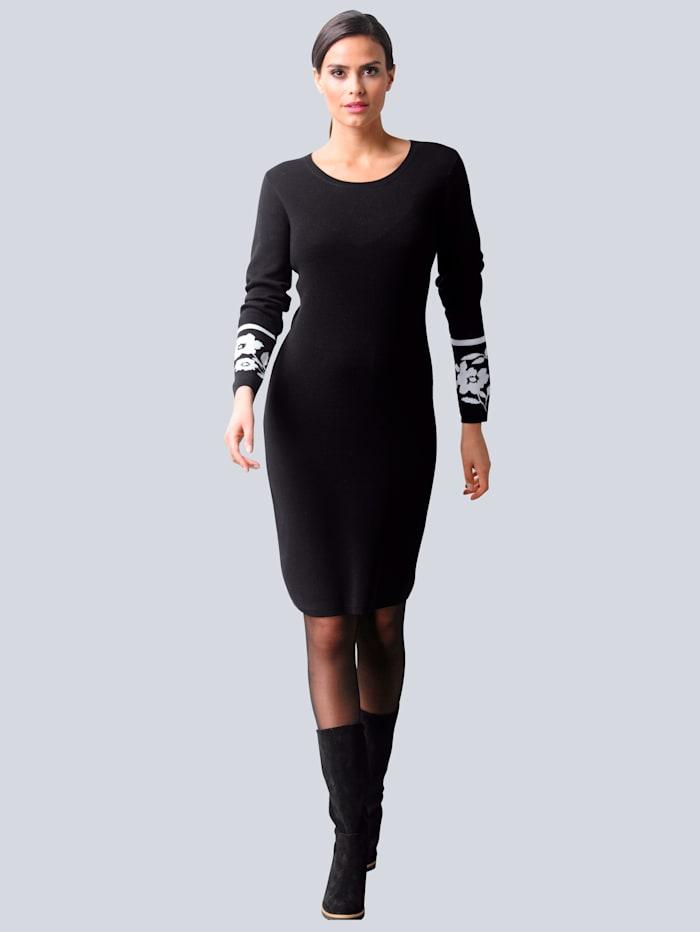 Alba Moda Strickkleid mit exklusivem Jaquard Dessin von Alba Moda, Schwarz/Off-white