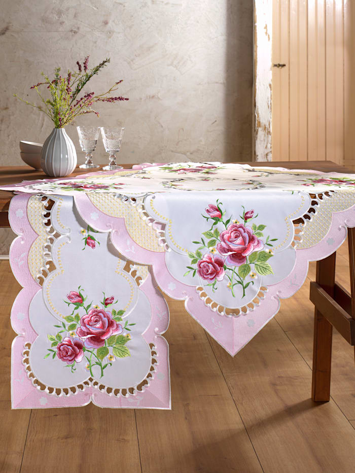 "Webschatz Linge de table ""Rosi"", Champagne/rose"