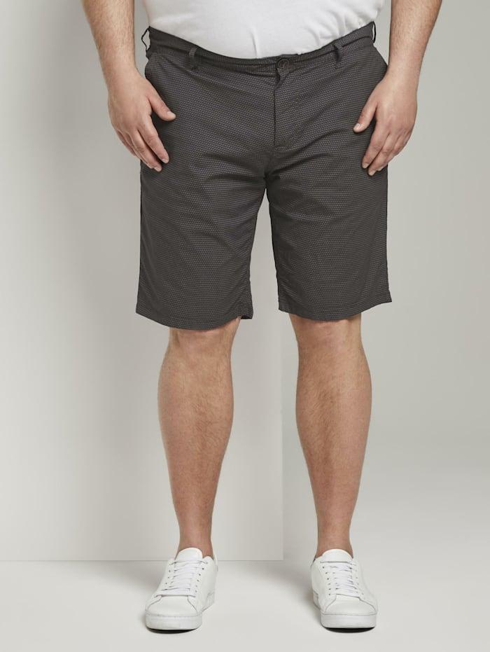 Tom Tailor Men Plus Gemusterte Josh Regular Slim Bermuda-Shorts, dark grey tonal minimal design