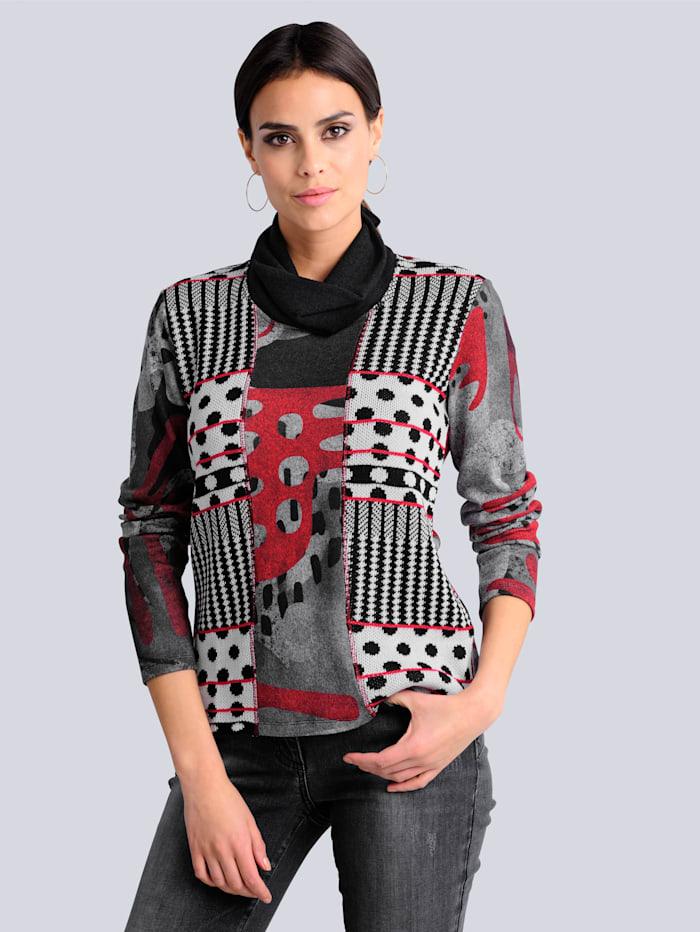 Alba Moda Shirt im Patchmuster, Schwarz/Grau/Rot