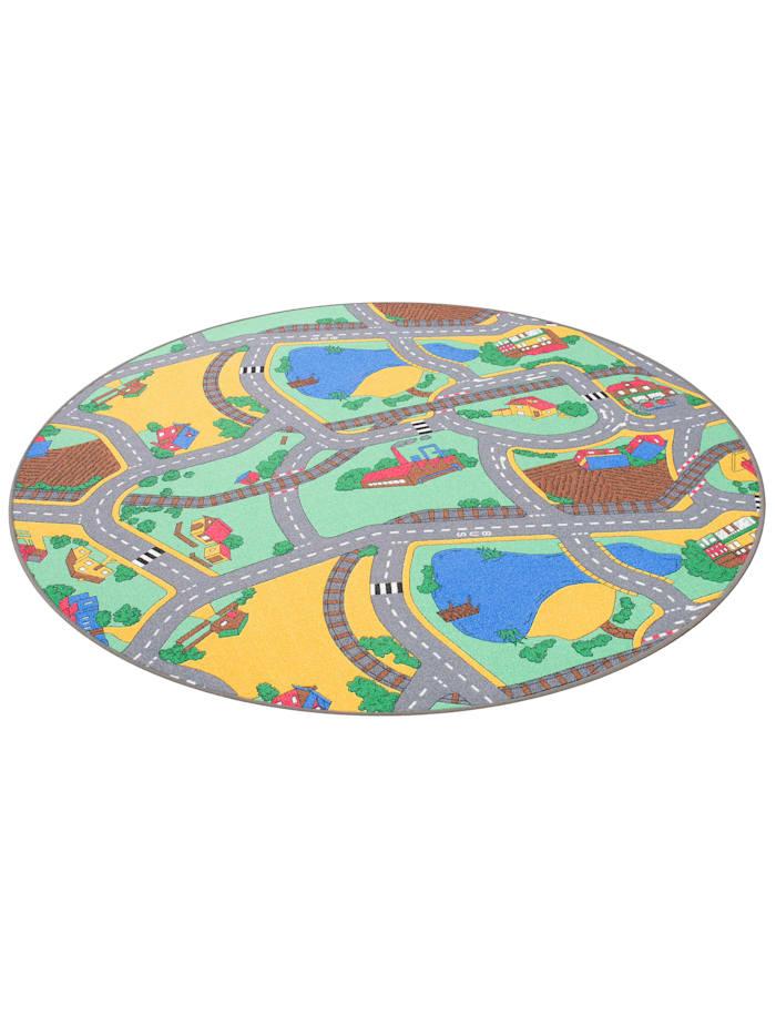Snapstyle Kinder Spiel Teppich Straßenteppich Rund, Grün