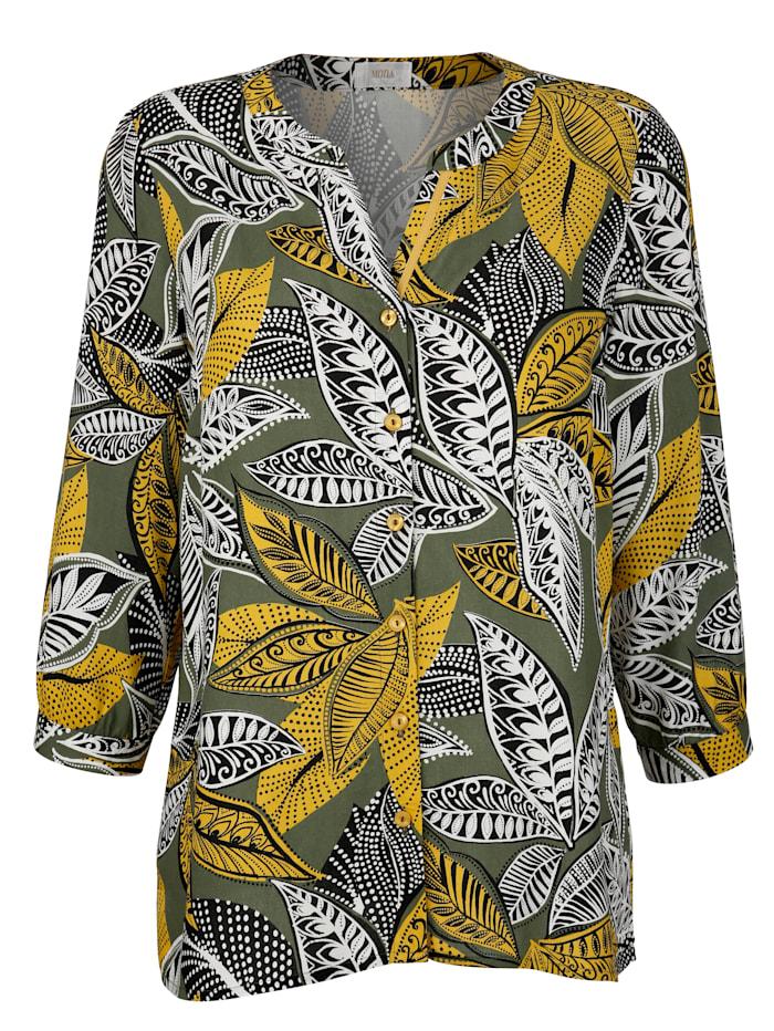 Bluse mit allover Blätterdruck