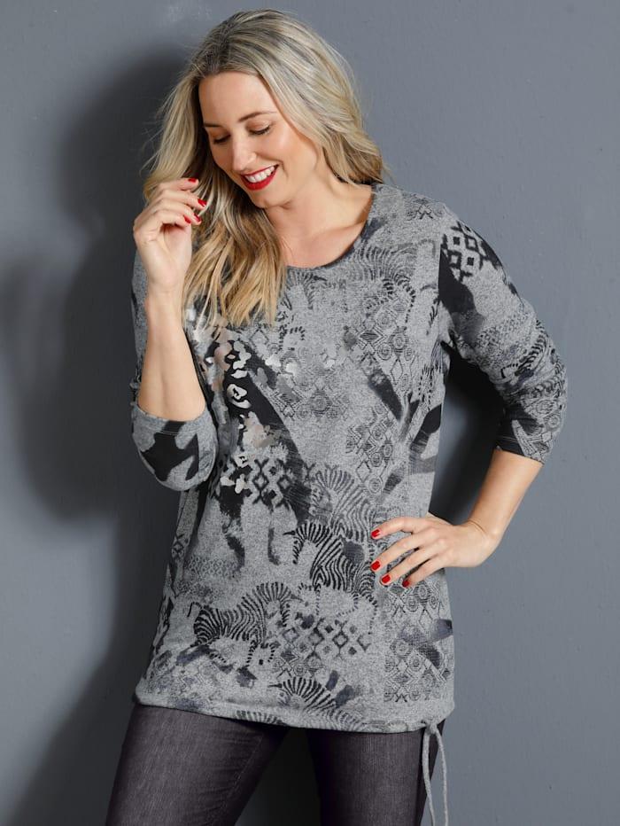 MIAMODA Feinstrickshirt mit Schnürung am Saum, Grau