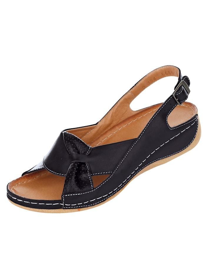 Naturläufer Sandale mit raffinierter Schlaufe, Schwarz