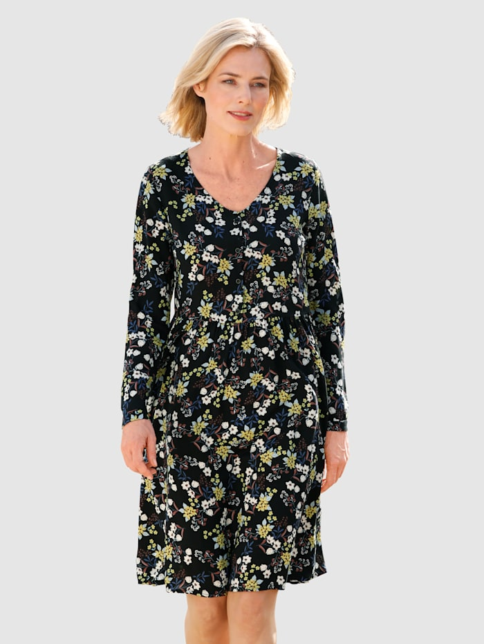 Dress In Pitkähihainen kukkamekko, Musta