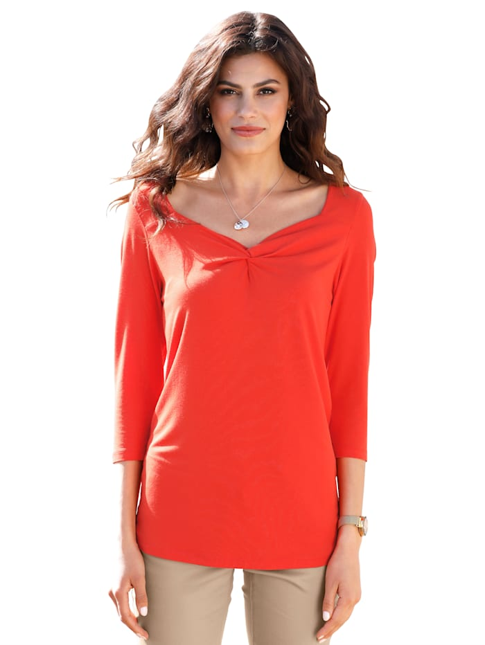 AMY VERMONT Shirt mit Knotendetail am Ausschnitt, Orange