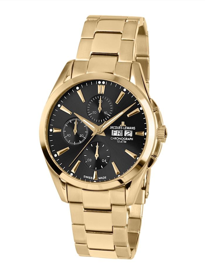 Jacques Lemans Herren-Uhr-Automatik-Chronograph Serie: Derby Automatic, Kollektion: Classic : 1- 1925H, Gelbgoldfarben