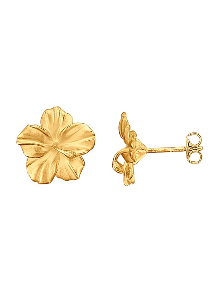 Amara Gold Blüten-Ohrstecker in Gelbold 585, Gelbgoldfarben