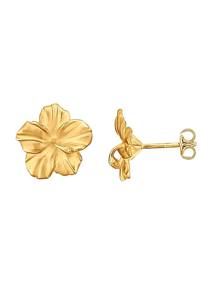 Diemer Gold Blüten-Ohrstecker in Gelbold 585, Gelbgoldfarben