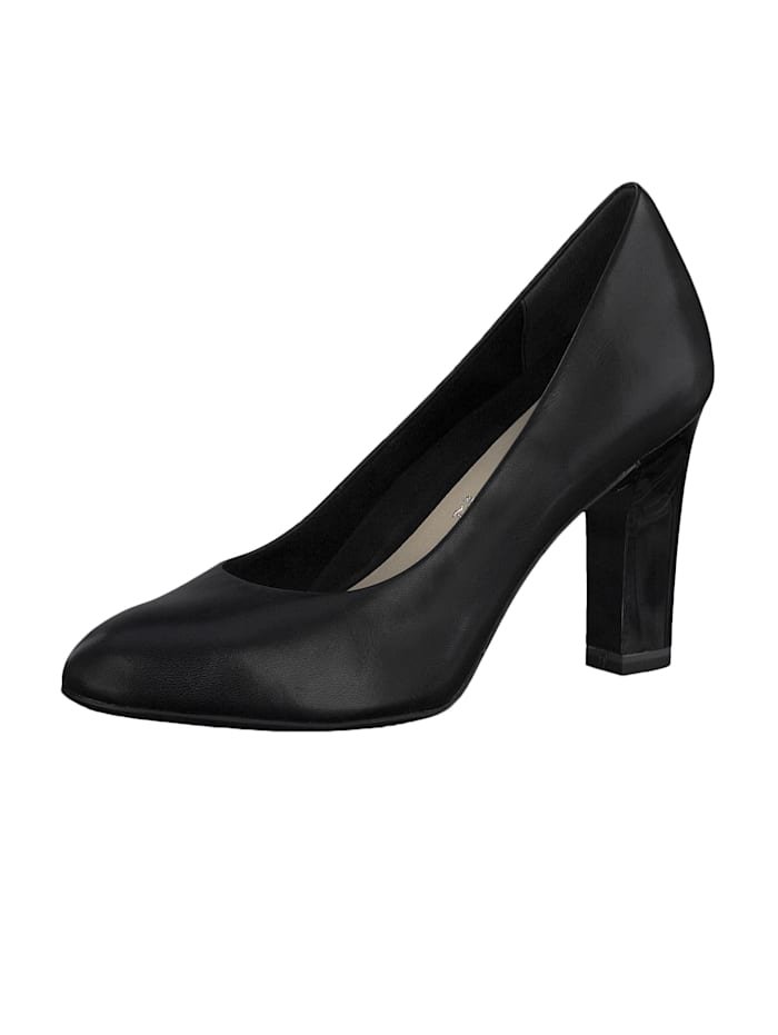 Tamaris 1-22417-24 001 Damen Black Schwarz High-Heel Leder Pumps, Black