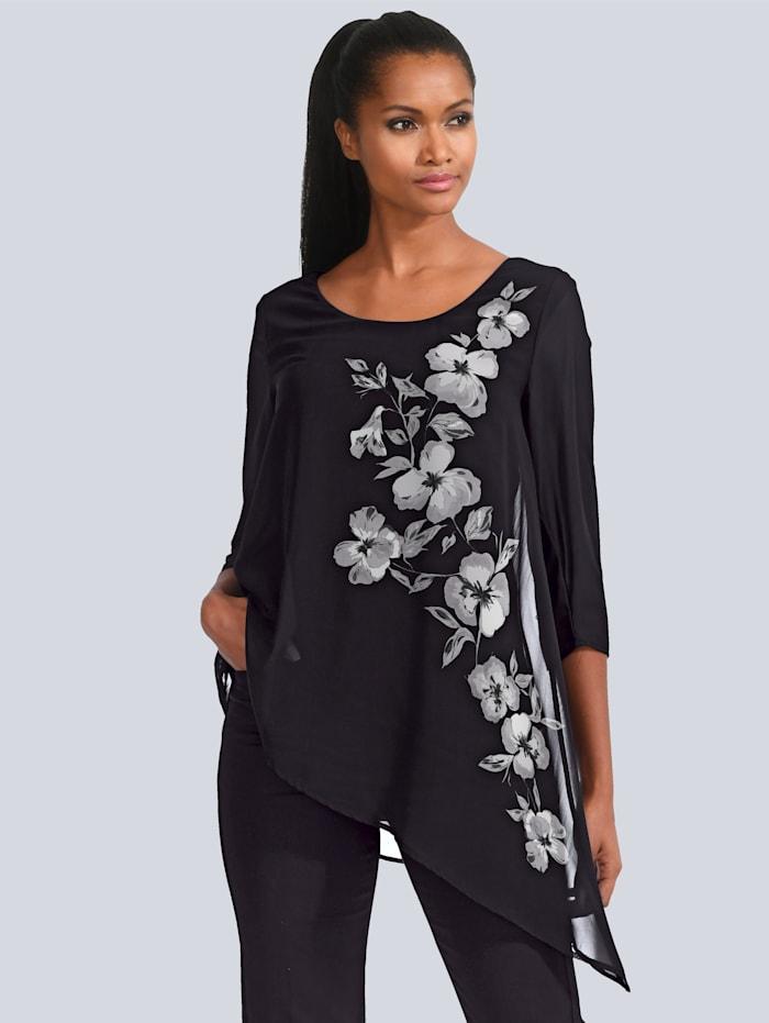Alba Moda Shirt mit asymmetrischer Chiffonlage, Schwarz