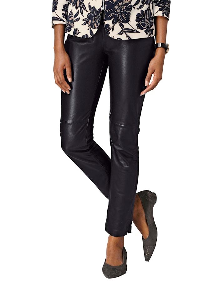 Alba Moda Pantalon en cuir matière extrêmement douce, Noir