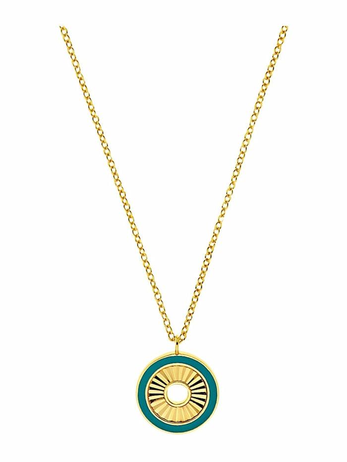 amor Kette mit Anhänger für Damen, Sterling Silber 925 vergoldet | Disc, Gold
