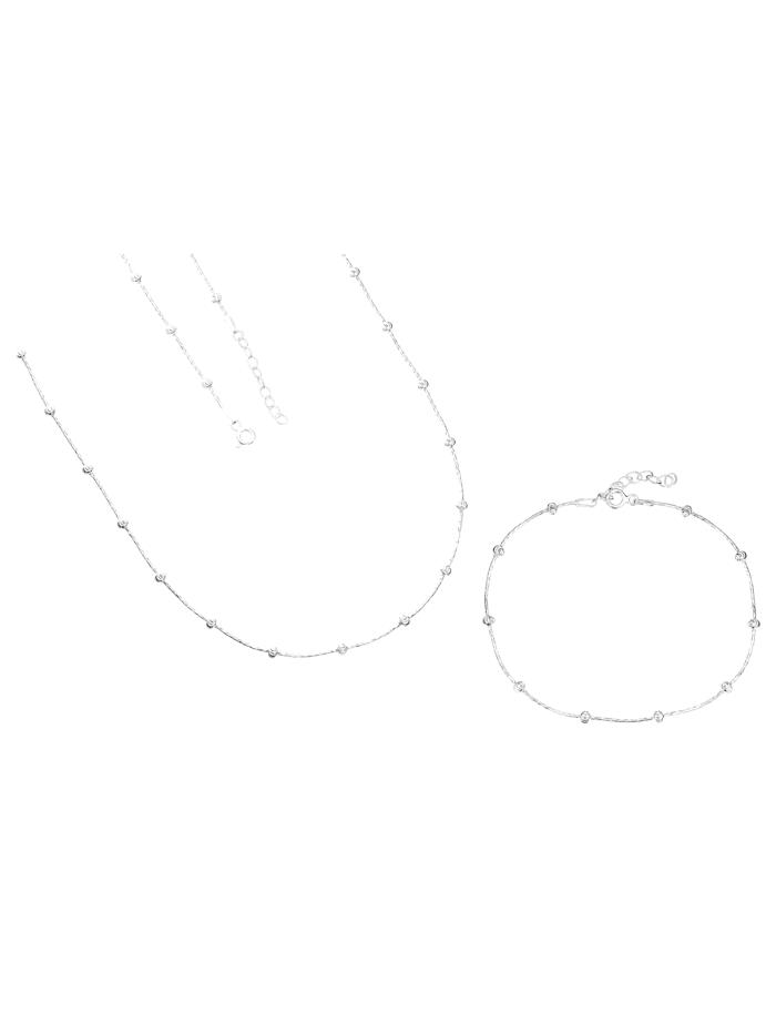 Grazielli 2-delige sieradenset van echt zilver, Zilverkleur