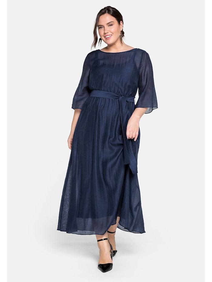 Sheego Abendkleid lang in sehr weiter Form mit Bindeband, dunkelblau
