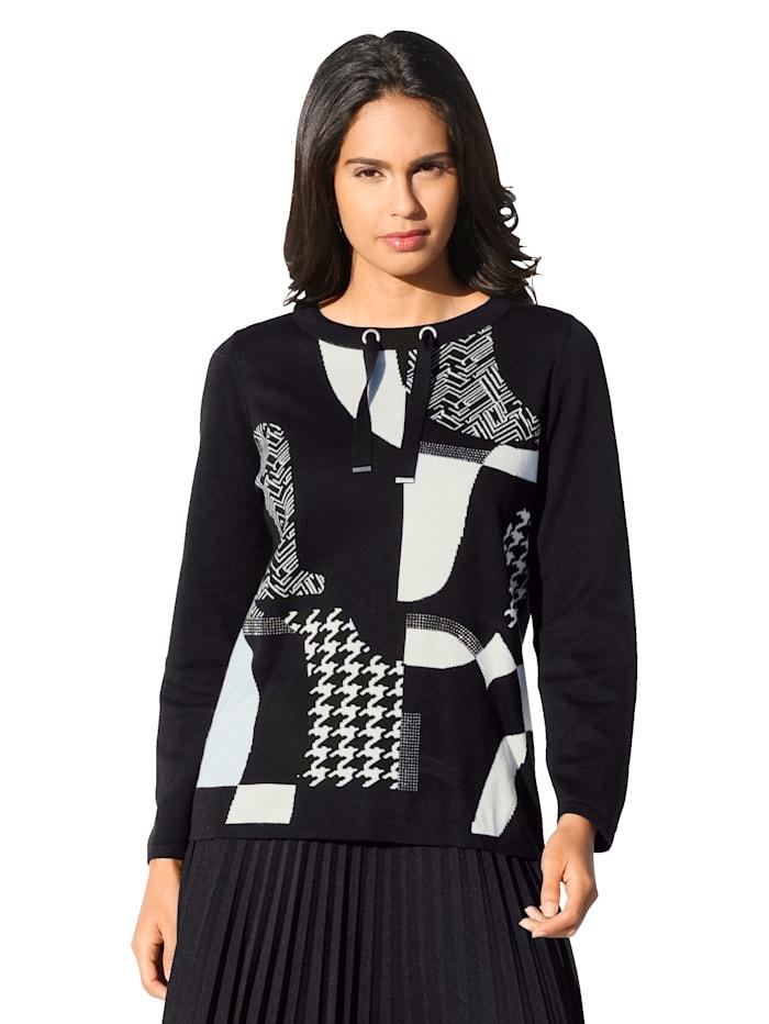 Betty Barclay Pullover mit Strasssteinen im Vorderteil, Schwarz/Creme-Weiß