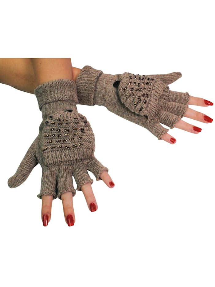Handschuhe 2 Paar A3376 2 Paar Klapp-Handschuhe mit Glitzer-Steinen
