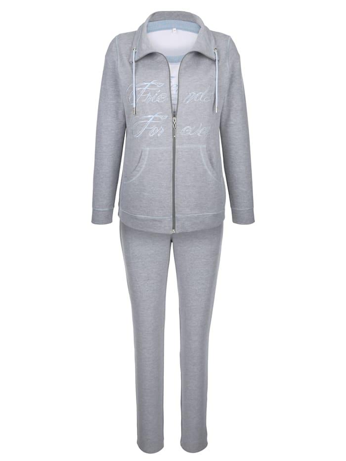 Simone Fritidsdress med dragsko i kragen Set, gråmelerad/vit/ljusblå