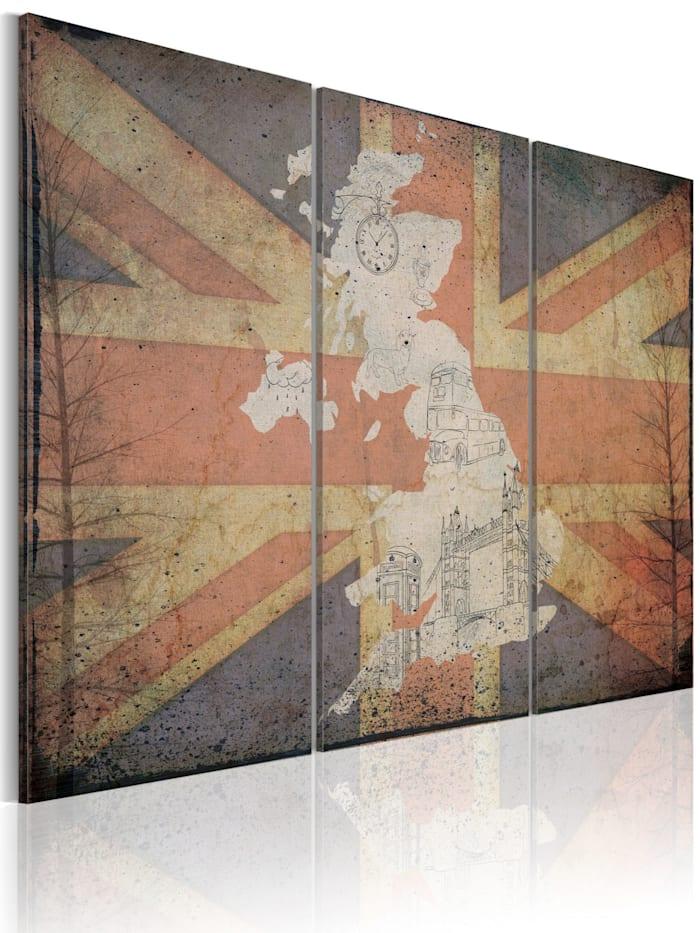 artgeist Wandbild Landkarte von Großbritannien - Triptychon, Rot,Blau,Creme,Weiß