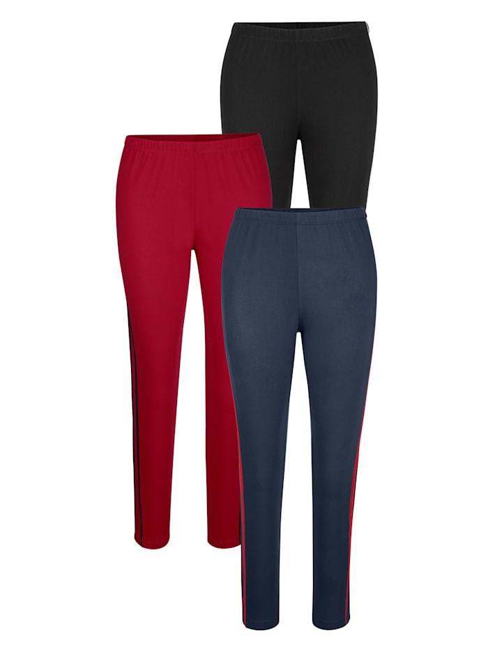 Harmony Leggings im 3er-Pack mit seitlicher Paspelierung, Schwarz/Rot/Marineblau
