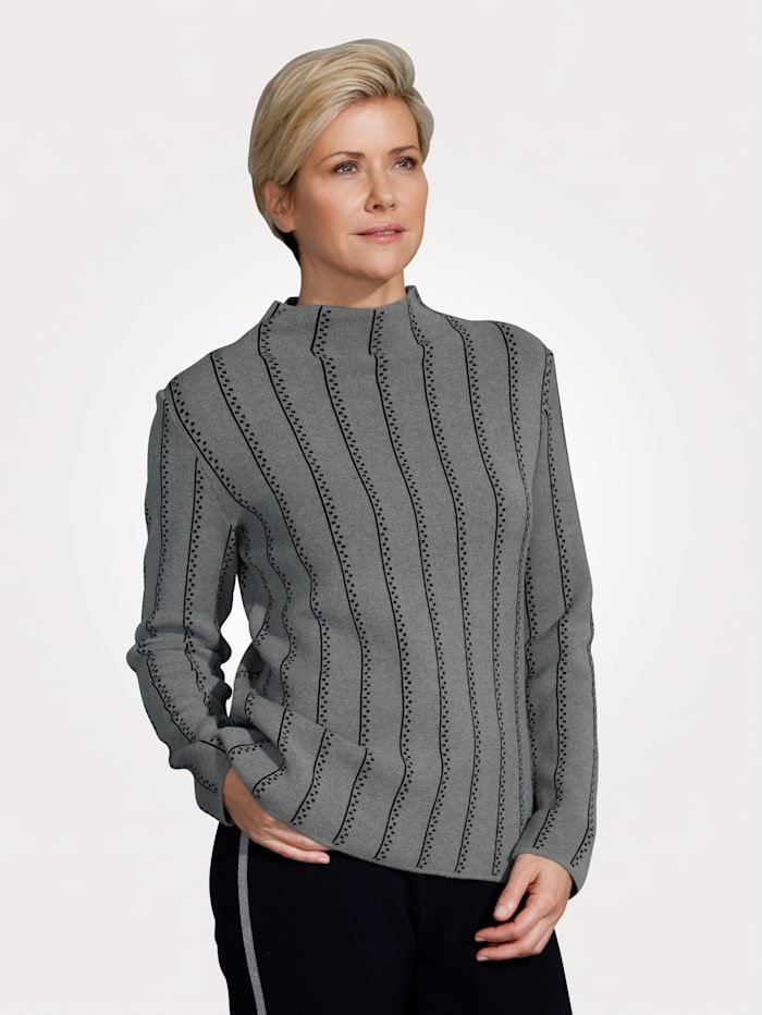 MONA Pull-over en maille jacquard, Gris/Marine
