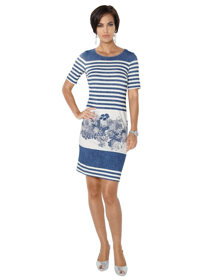 AMY VERMONT Kleid mit sommerlichem Druck, Blau/Weiß