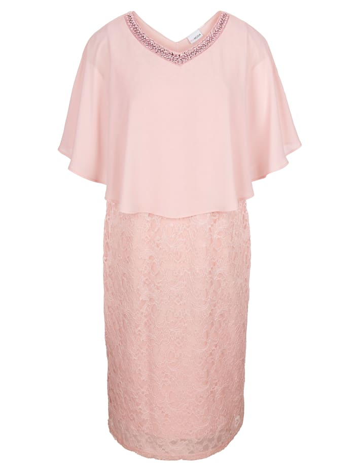 MIAMODA Krajkové šaty se šifónovým přehozem, Růžová