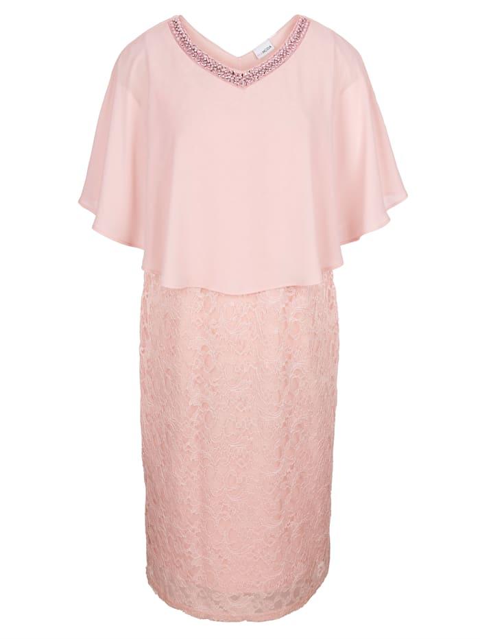 MIAMODA Spetsklänning med chiffong upptill, Rosa