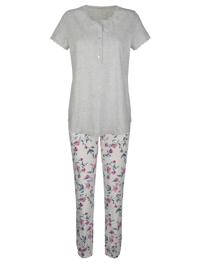 Pyjama's per 2 stuks met bloemenprint rondom