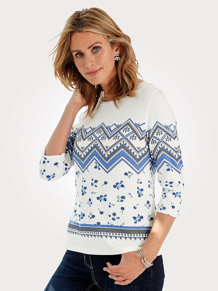MONA Shirt mit Norweger-Druck, Off-white/Blau