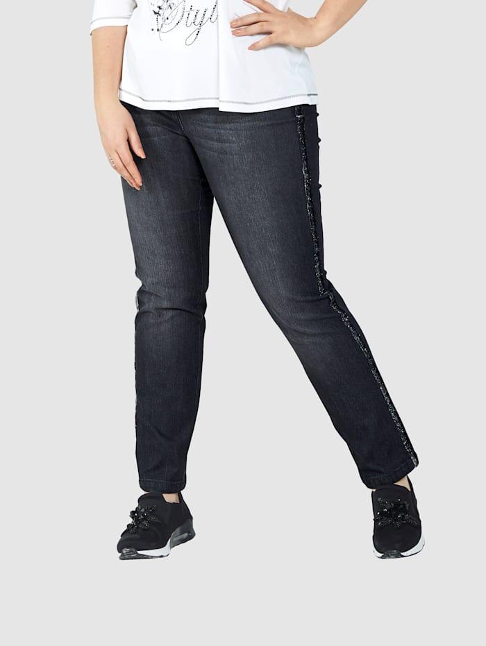MIAMODA Jeans med glitrende galonstriper, Black